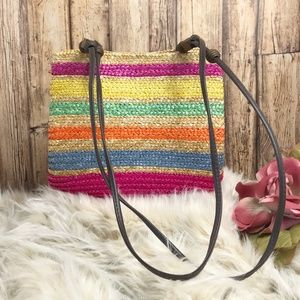Straw Shoulder Bag Double Straps Multi-color